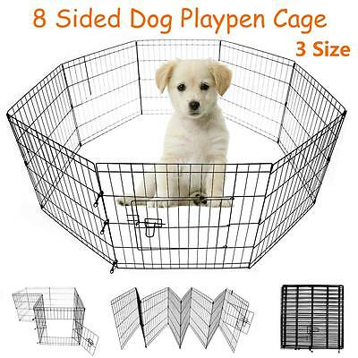 Dog Cage Pet Puppy Whelping Crate Run Play Pen Playpen 8 Panel Short Medium Tall