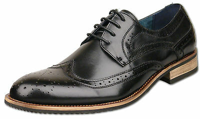 Mens New Black Leather Lined Lace Up Brogue Formal Shoe Size6 7 8 9 10 11 12 13
