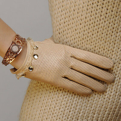 Ladies Woman Genuine Nappa Leather&Lace Perforated Driving Gloves On Sale #L006