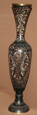 Vintage hand made floral engraved brass vase