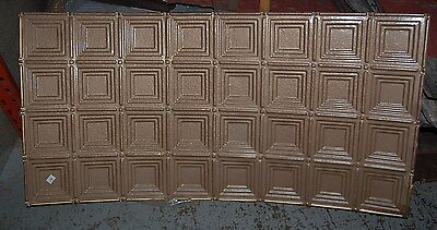 Antique Square Design Tin Ceiling Tile / Architectural Salvage