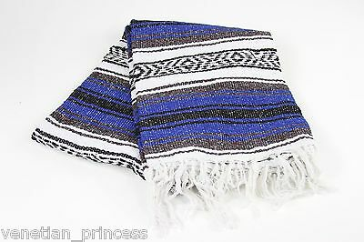 "Authentic Blue Mexican Falsa Blanket Hand Woven Yoga Mat Blanket 74"" x 50"" NEW"