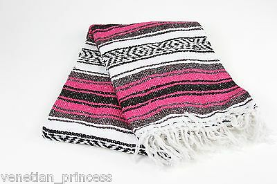 "Authentic Fuchsia Mexican Falsa Blanket Hand Woven Yoga Mat Blanket 74"" x 50"""