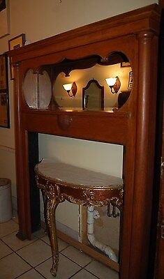 Vintage Oak Wood Carved Fireplace Mantel w/ Mirror/ Architectural Salvage