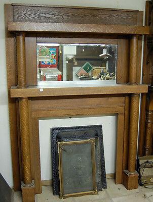 Early Twentieth Century Antique Oak Fireplace Mantel with Mirror