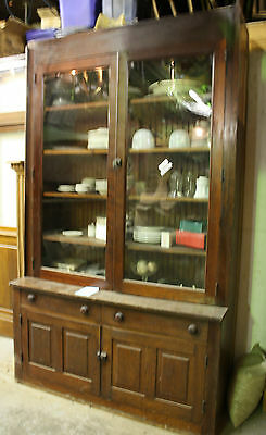Great Antique Country Built  In Oak China Cabinet With Full Glass Cabinet Doors