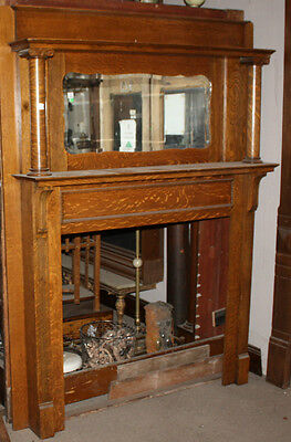 Antique Oak Fireplace Mantel w/ Mirror,Home,Hearth,Architectural Salvage