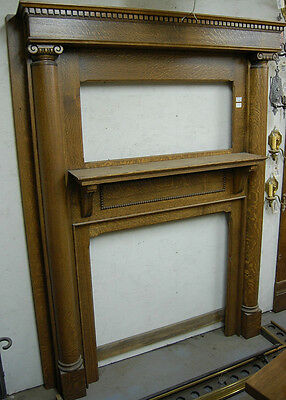 Early Twentieth Century Antique Oak Fireplace Mantel Architectural Salvage