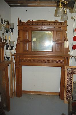 Victorian Era Antique Oak Fireplace Mantel with Mirror