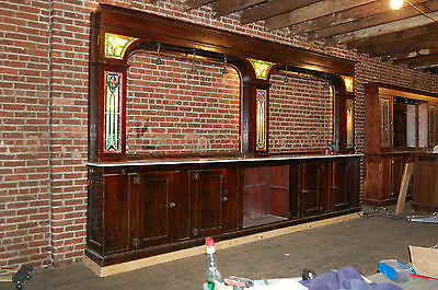 Antique Mahogany Back Bar Stained Glass Panels 16 Ft Architectiural Salvage