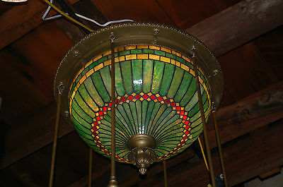 D & K ?   Stained Glass Dome Chandelier W/ Brass Drops Architectural Salvage