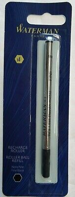 1 X Waterman Rollerball Pen Refill - Fine Point - Black Ink Retail Hang Pack New