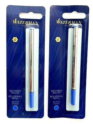 2 X Waterman Rollerball Pen Refills, Fine Point, Blue Ink NEW SEALED