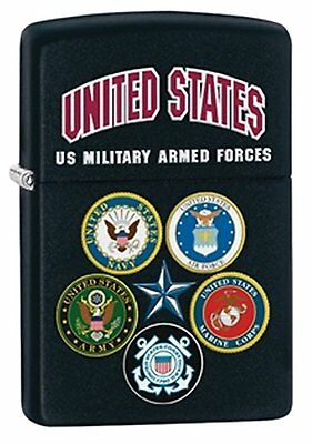 Zippo Windproof Black Matte Lighter With 5 U.S. Armed Forces 28898, New In Box