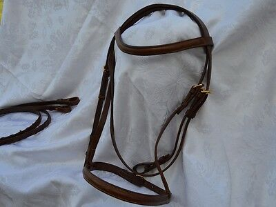 New Fancy leaf/gold buckle full size brown english bridle
