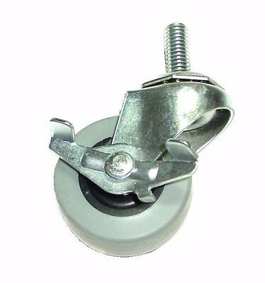 """Swivel Stem Caster with 2"""" Gray Rubber Wheel and 3/8"""" Threaded Stem with Brake"""