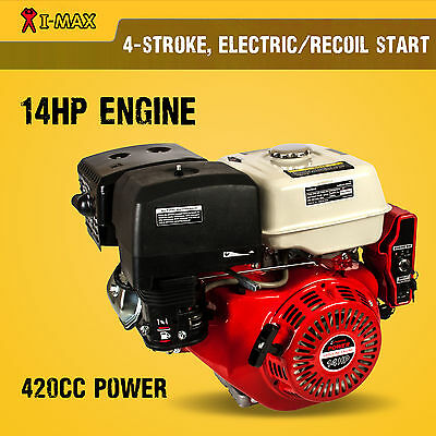 14HP Petrol Engine OHV Stationary Motor Horizontal Shaft Electric Start 13 15HP