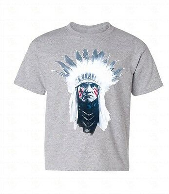 Indian Chief Youth T-shirt Native American Headdress Southwest Gift For Kids