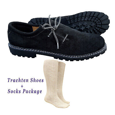 German Bavarian Oktoberfest Trachten Lederhosen Black Shoes + Socks Package /Set