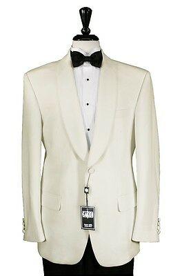 NEW Mens 'Hamilton' Off-White Ivory Cream Shawl Dinner Jacket Formal Wedding Tux