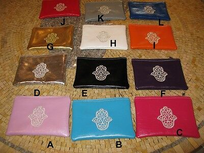 Coin purse wallet - Coin purse leather - hamsa hand purse -Jewish wedding favors