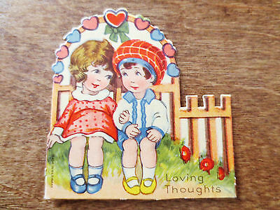 """1920s Happy Valentine's Day Card """"Loving Thoughts"""" Cute Kids Used Germany Made"""