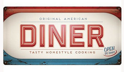 Long Retro Tin Metal Embossed Sign 'AMERICAN DINER' Vintage Look -Open 24 Hours