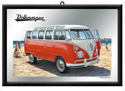 Framed Bar Mirror VW SAMBA BUS Red Kombi Beach 20x30cm Combi Licensed Product