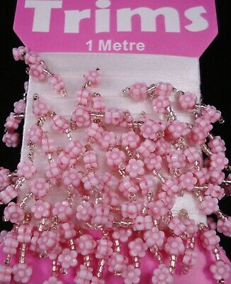 Beaded Trim 1mt Pink Flowers Bead Sewing Lampshade Craft Sew FREE POSTAGE