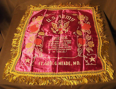 Vtg WWII era Sister Pillow Cover U.S. Army Fort George G Meade Maryland Souvenir