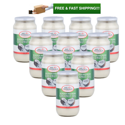 10 x 1 ltr Glass Extra Virgin Coconut Oil, Certified Organic Raw & Cold Pressed