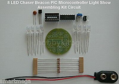 LED Chaser Beacon PIC Microcontroller Light Show - Assembling Kit - 8 x 5mm LED