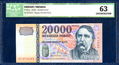 SALE HUNGARY 20000 FORINT PICK 201a 2008 ICG 63 UNC