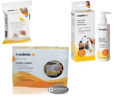 Medela Micro Steam Bags with Quick Clean Wipes and Breastmilk Removal Soap, NEW