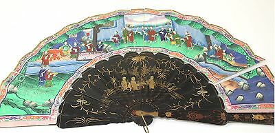 Ab140. Fan Of A Thousand Faces. Lacquered Wood. China. Xix Century
