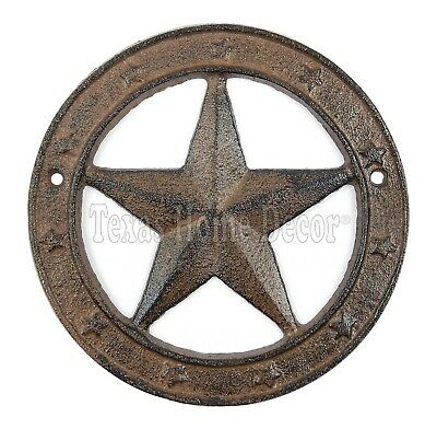 "Texas Star with Ring Cast Iron Western Barn Decor 6.25"" Rustic Antique Style"