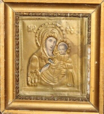 Vintage Orthodox icon print with metal facing Virgin Mary Christ Child