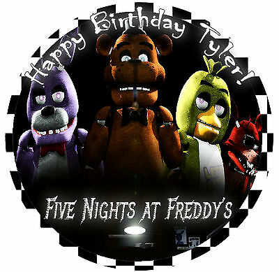 FNAF Round Edible CAKE Decoration Image Icing Topper Five Night at Freddy's