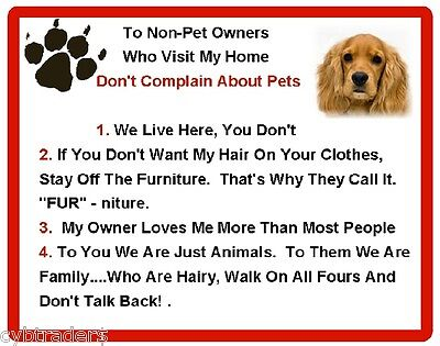 Funny Dog Cocker Spaniel House Rules Refrigerator / Magnet Gift Card Idea