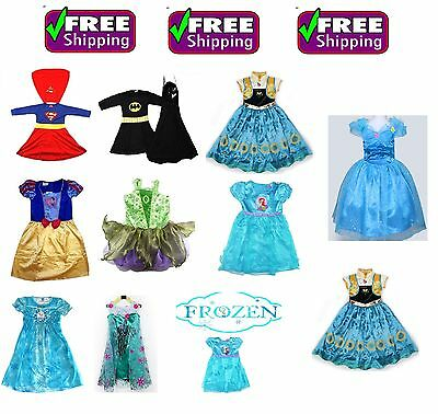 New Girls Costume Supergirl Batgirl Tinkerbell Frozen Dress  Birthday Party Kids