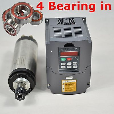 Four Bearing 65Mm 1.5Kw Er11 Water-Cooled Spindle Motor & Vfd Drive Inverter