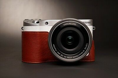 Handmade Genuine real Leather Half Camera Case bag cover for Samsung NX500