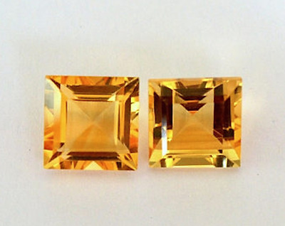 Genuine Natural Golden Citrine AAA Square Step-Cut Loose Gemstones (2x2-8x8mm)
