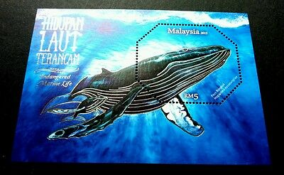 Malaysia Endangered Marine Life 2015 Whale Ocean (ms) MNH *silver foil *unusual