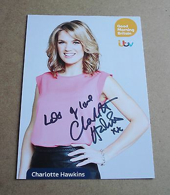 Charlotte Hawkins Genuine Signed Promo Card Autograph Good Morning Britain + COA