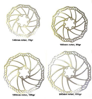 ultra light stainless steel disc brake rotors, 140, 160, 180, 203 ,include bolts