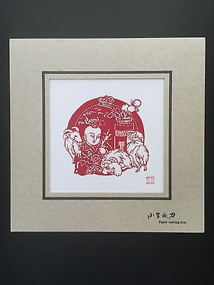 Chinese handmade paper cutting- baby with sheep