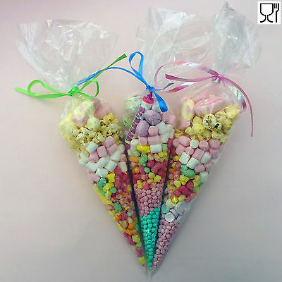 Party Bags Clear Cone Cello Cones Sweet Candy Bag Birthday Wedding Favour Kids