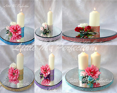"""DIAMANTE  MIRROR  CAKE STAND CANDLE PLATE 8"""" - 18""""  Round, Square WEDDING TABLE"""