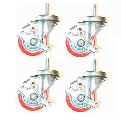 """(Pack of 4) Stem Casters with 3"""" Red Non-Marking Wheels and 3/8"""" Threaded Stems"""